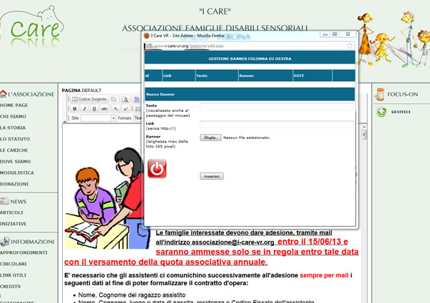 gestione web site i-care onlus